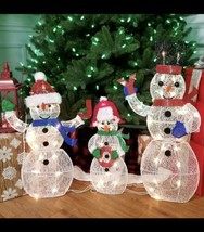 GLITTERING SNOWMAN FAMILY SCULPTURES, SET OF 3  (as) N5 - $296.99
