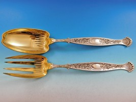 "Hyperion by Whiting Sterling Silver Salad Serving Set Gold-wash Long 12"" Fluted - $768.55"