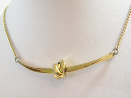 NAPIER LOVE KNOT Bar Gold Plated CHAIN Necklace Choker Vintage STUNNING - $18.80