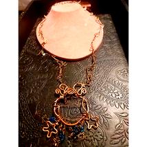 Handmade Vtg Copper Necklace W/Crystals - $20.79