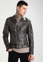 Men's Biker Vintage Motorcycle Distressed Black Slim Fit Leather Jacket - FL101 - $109.99