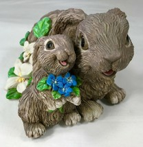 Rabbit Music Box Mama & Baby Bunny with Flowers Tune Plays Memories from... - $17.41