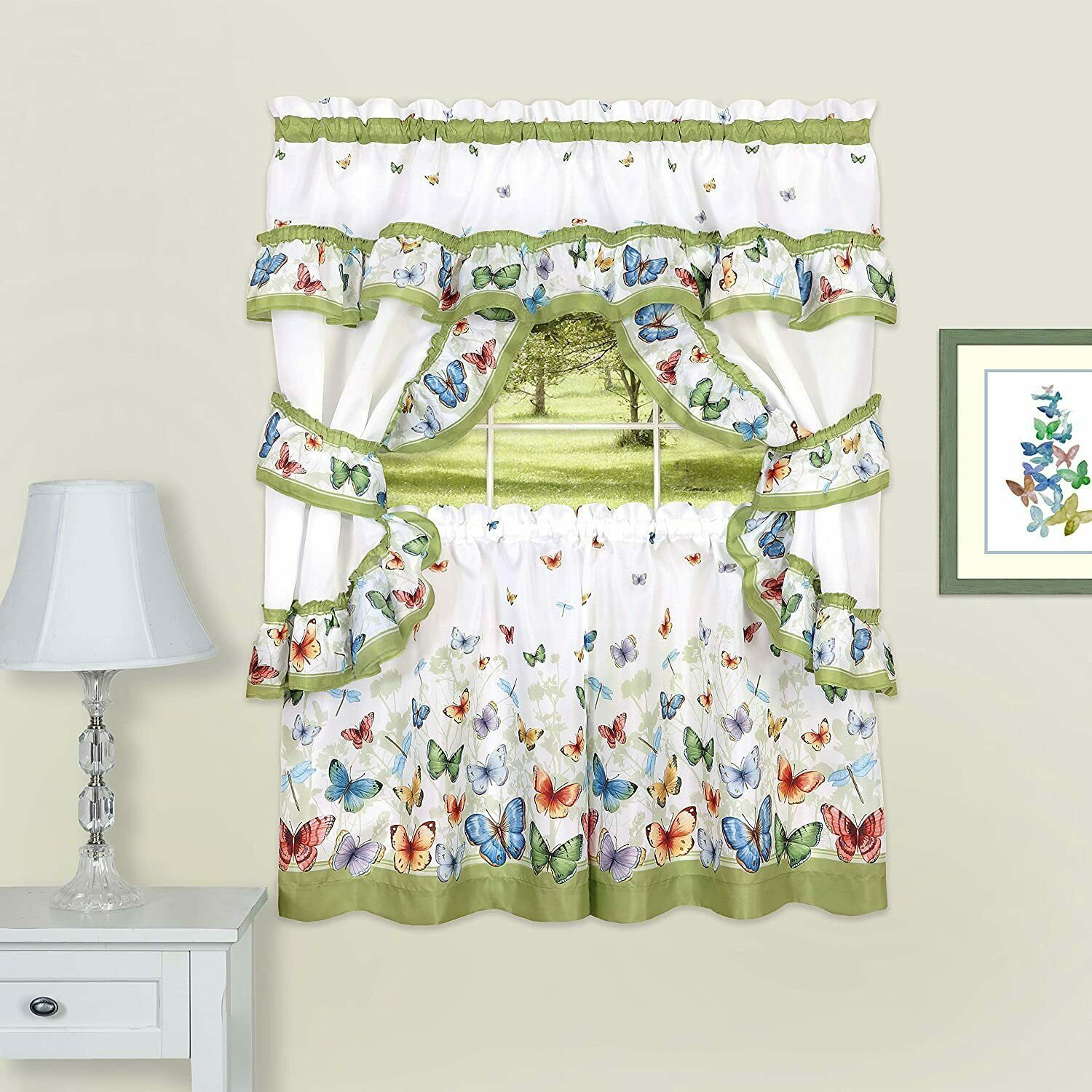 "Primary image for Achim Home Furnishings Butterflies Printed Cottage Window Curtain Set, 57"" x 36"""