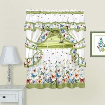 Achim Home Furnishings Butterflies Printed Cottage Window Curtain Set, 5... - $33.60+