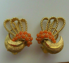 Vintage Signed BSK Gold-tone Coral Omega Lock Earrings - $35.00