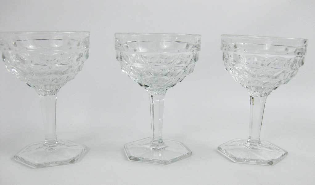 Vintage Fostoria American Clear (Stem 2056) Champagne/Tall Sherbet Glasses (3)