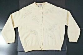 Vintage Hand Beaded Hong Kong Bonnie Wong Lamb's Wool Angora Nylon Cream... - $65.16