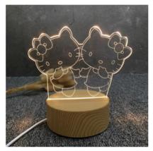 3D LED Lamp Creative Wood grain Night Lights Novelty Illusion Night Illusion 2 - $12.40