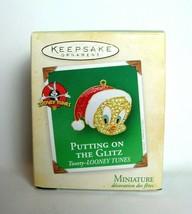 Tweety Bird Miniature Christmas Ornament charm - $10.15