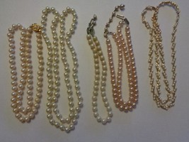 """Vtg Lot Of 5 Faux Pearl Chokers Necklaces 32/28/24/14/14"""" Various Styles Napier - $18.99"""