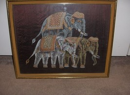 Vintage 3 Elephants Painted On Burgundy Silk Art Picture Framed NICE - $95.00