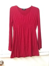 Women's MADE BY JOHNNY Red Long Sleeve Blouse/Top Size Medium - $9.95