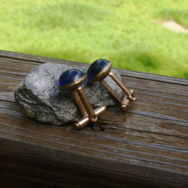 Vintage Round Blue Glass Cabochon Cufflinks