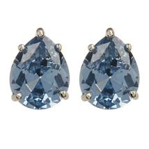 CZ Kenneth Jay Lane Silver Aqua Pear Stud Earrings KE696AQSI NWT - $83.66