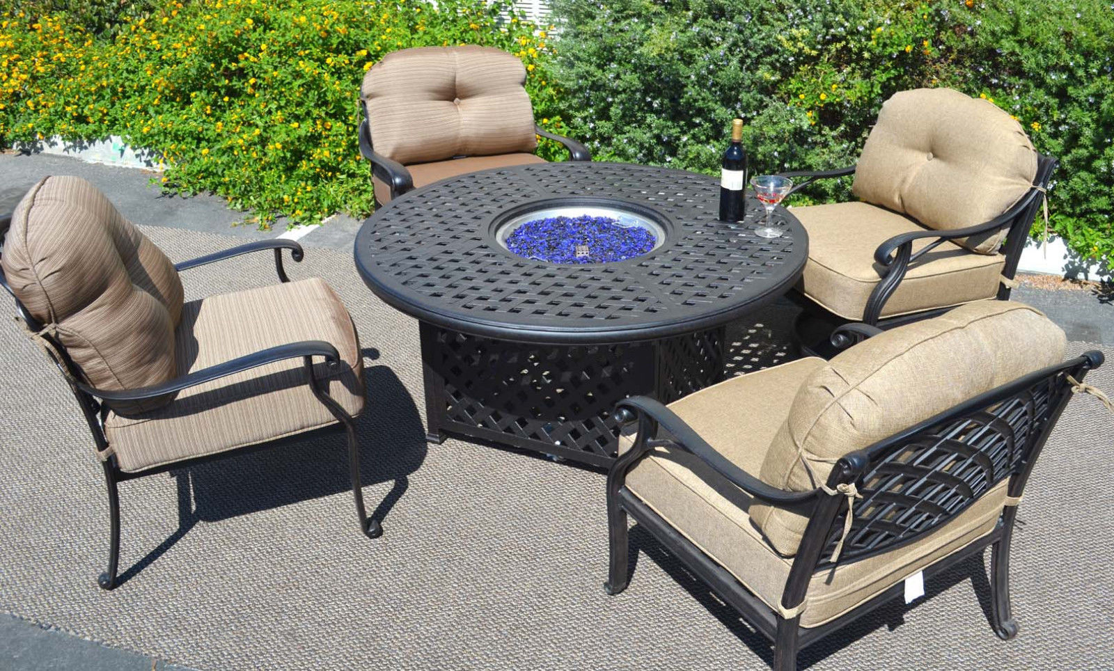 Outdoor fire pit propane table 5 pc dining set patio furniture Nassau aluminum
