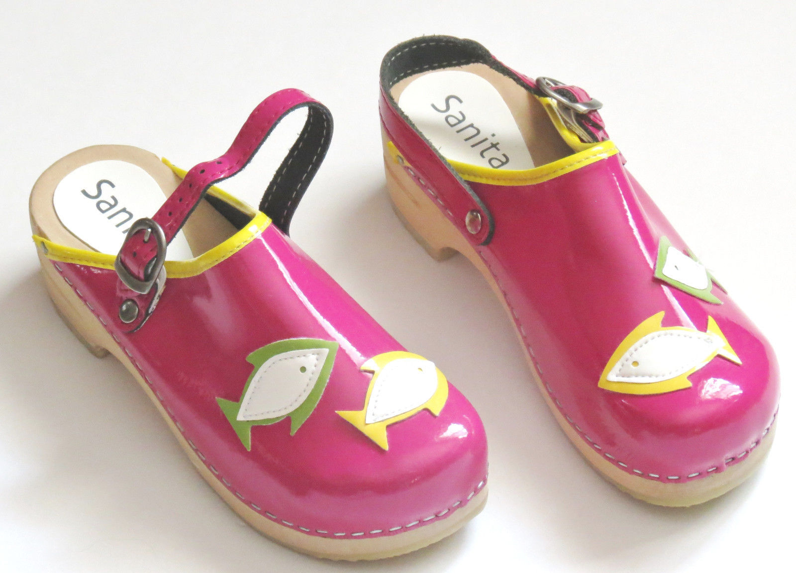 Primary image for Sanita Girls Clogs 34 Pink Pisces Fish Patent Leather Stapled Wood 3.5 -4