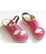 Sanita Girls Clogs 34 Pink Pisces Fish Patent Leather Stapled Wood 3.5 -4 - €39,63 EUR