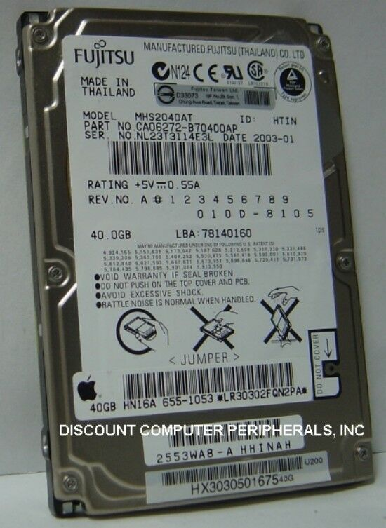"NEW MHS2040AT Fujitsu 40GB 2.5"" IDE Hard Drive Free USA Shipping Our Drives Work"