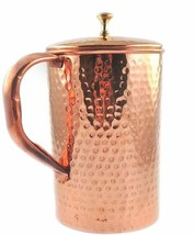 Pure Copper Jug With Lid Hand Hammered For Health Benefits Capacity 50.7... - $23.62