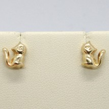 18K YELLOW GOLD EARRINGS, WITH ROUNDED MINI CATS, LENGTH 8 MM, MADE IN ITALY image 2