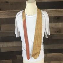 Tommy Hilfiger Mens Neck Tie Orange And Gold 100% Silk  - $14.03