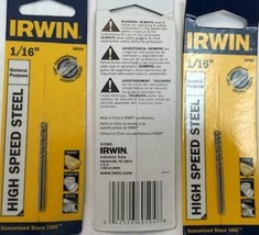 "Irwin Hanson 60504 1/16"" High Speed Steel Drill Bit 3 Packs of 2 bits - $5.94"