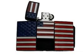 Hommes Motard Capuche Ceinture Boucle Métal Noir Drapeau Américain USA Hip Hop image 1