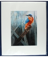 """Proud Kingfisher Ruth Nolan Print From Watercolor 10""""x12"""" Matted Art 2015 - $15.00"""