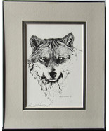 Grizzled Old Wolf, Framed Matted Wildlife Art Print, Pen and Ink, Animal... - $39.00