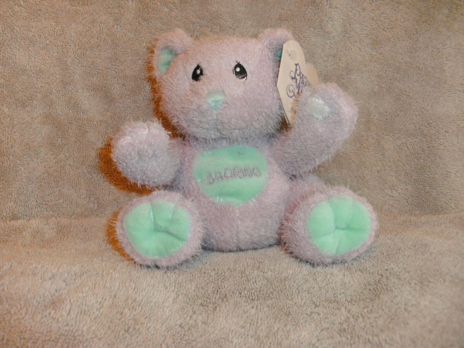 "Enesco Precious Moments Sharing Bear Plush New  Purple 6"" Stuffed Animal Toy image 3"
