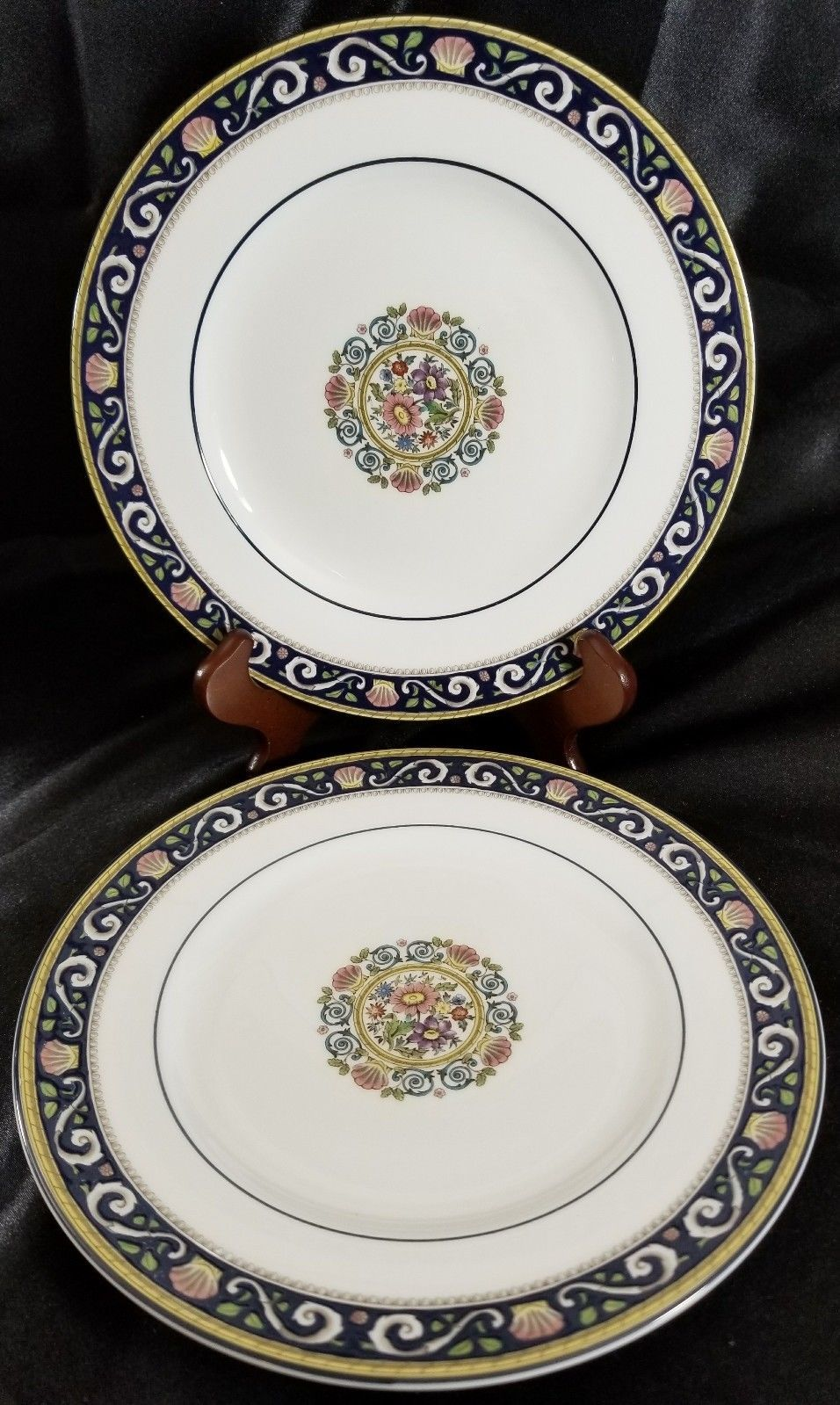 "Wedgwood Runnymede Blue Salad Plates 8.25"" (2)"