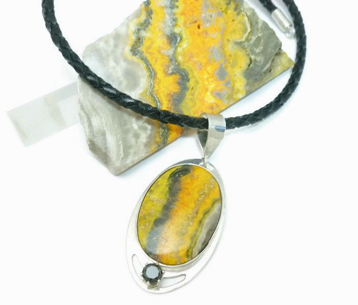 Sterling Bumble Bee Jasper Oval Pendant Necklace with Black Leather Cord