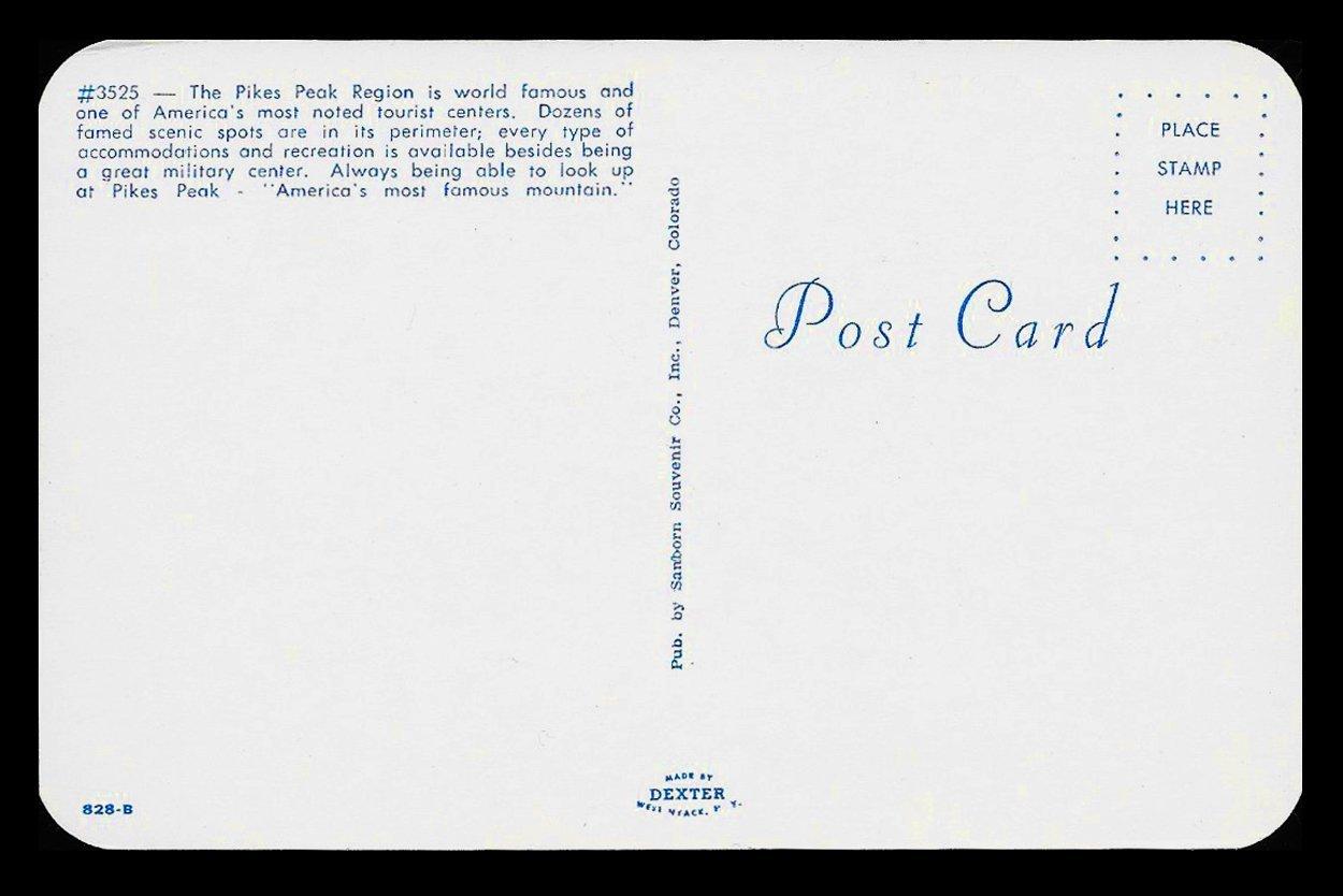 Pikes Peak Postcard Colorado Greetings Mountains Railroad Train CO PC
