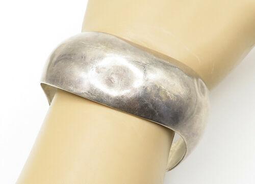 ALICIA MEXICO 925 Silver - Vintage Smooth Wavy Designed Cuff Bracelet - B6317