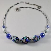 NECKLACE ANTIQUE MURRINA VENICE MURANO GLASS, OVAL BLUE SPECKLED LONG 45 CM