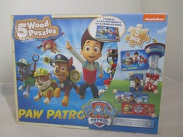 5ct Paw Patrol Wood Puzzles Pk, Wooden Storage Box, Rescue Dogs, Learning Game - $23.36