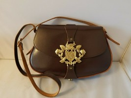 Vintage Ladies' Purse Shoulder Bag Leather Brown With Gold Egyptian Hard... - $53.93