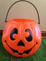 EUC Grand Venture Orange Smiley Faced Pumpkin Trick Or Treat Blow Mold Pail - $14.92