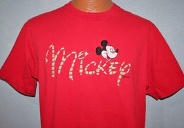 Vintage 80s Mickey Mouse Inc Embroidered Red T-SHIRT L Walt Disney Vtg - $16.82