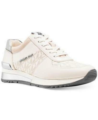 Michael Kors MK Women's Allie Trainer Leather Sneakers Shoes Vanilla 9.5