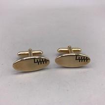 Vintage Mens Swank Gold Tone Oval Cufflink Set - $24.74