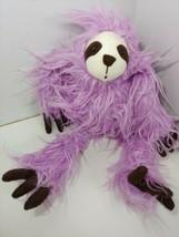 Animal Adventure purple sloth plush brown hands feet white face shaggy fur 2019 - $9.89