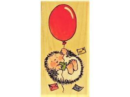 "Penny Black-Wood Mounted Rubber Stamp-""Balloon Hedgehog""-1720J"