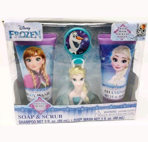 Disney Frozen Soap & Scrub 4 Piece Bath Set - Shampoo, Body Wash and Scrubby