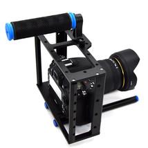 DSLR Camera Aluminum Cage w/15mm Rod Rig Top Handle Kit for cameras DVRs - $53.28