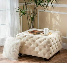 ModHaus Living Modern Contemporary Button Tufted Velvet Upholstery Foots... - $180.22