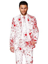 OppoSuits Men's Bloody Harry Party Costume Suit, White/Red, 42 - $82.71