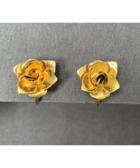 Dainty Small Shiny Glossy Gold Tone Flower Clip On Earrings Small - $11.84