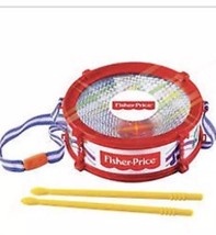 Fisher Price Mini Drum With Lights,Carrying Strap, Pair Of Drumsticks Ag... - $18.81