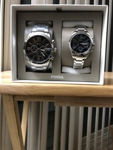FOSSIL BQ2146SET HIS AND HER CHRONOGRAPH STAINLESS STEEL WATCH GIFT SET - $139.99